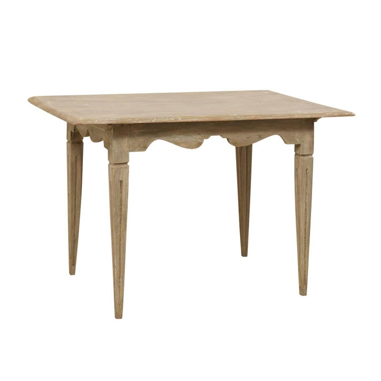 Swedish 19th Century Painted Wood Desk with Uniquely Carved Apron
