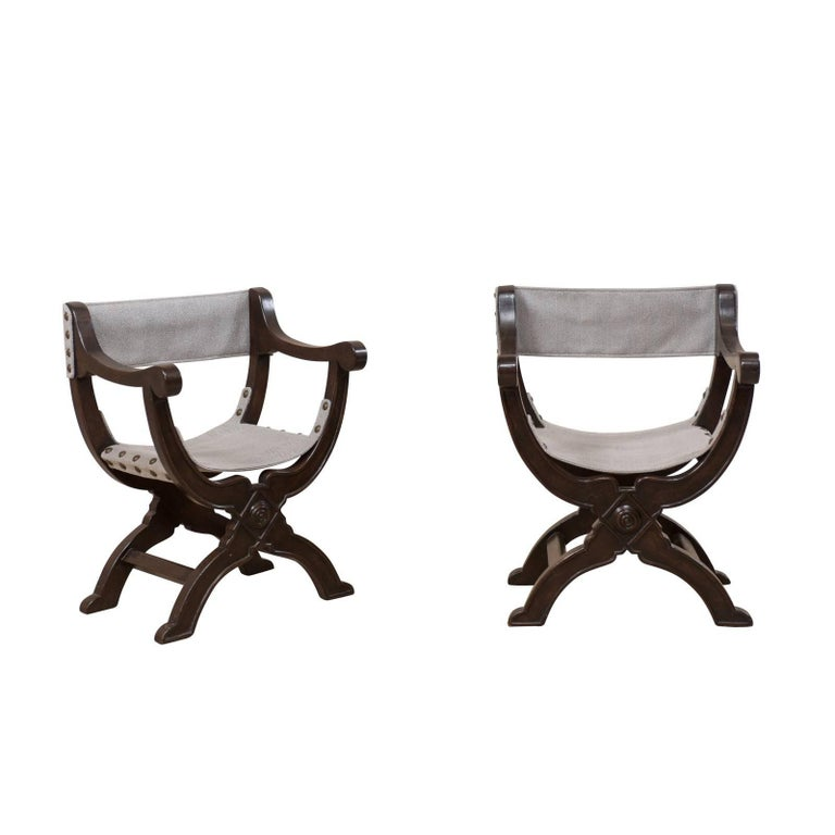 Pair of Italian Dark Wood Dante Style Chairs with Rounded X-Frames