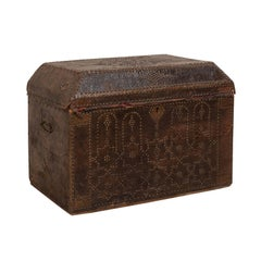 19th Century Spanish Leather Covered Trunk Ornately Decorated with Brass Studs