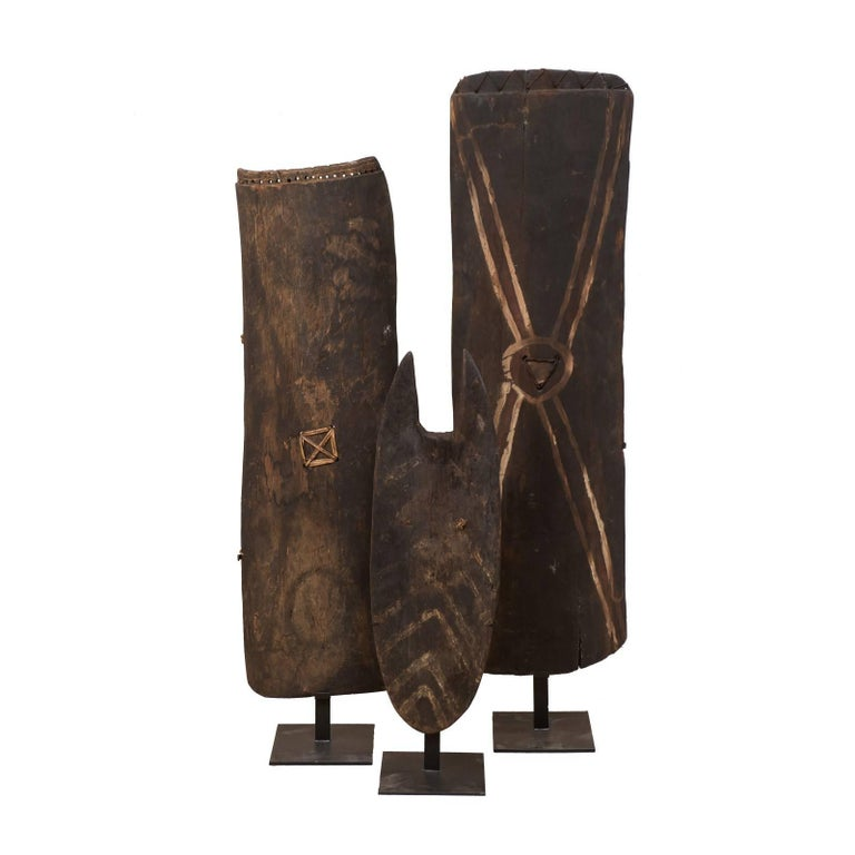 Set of Three Wooden War Shields on Stands from Papua New Guinea