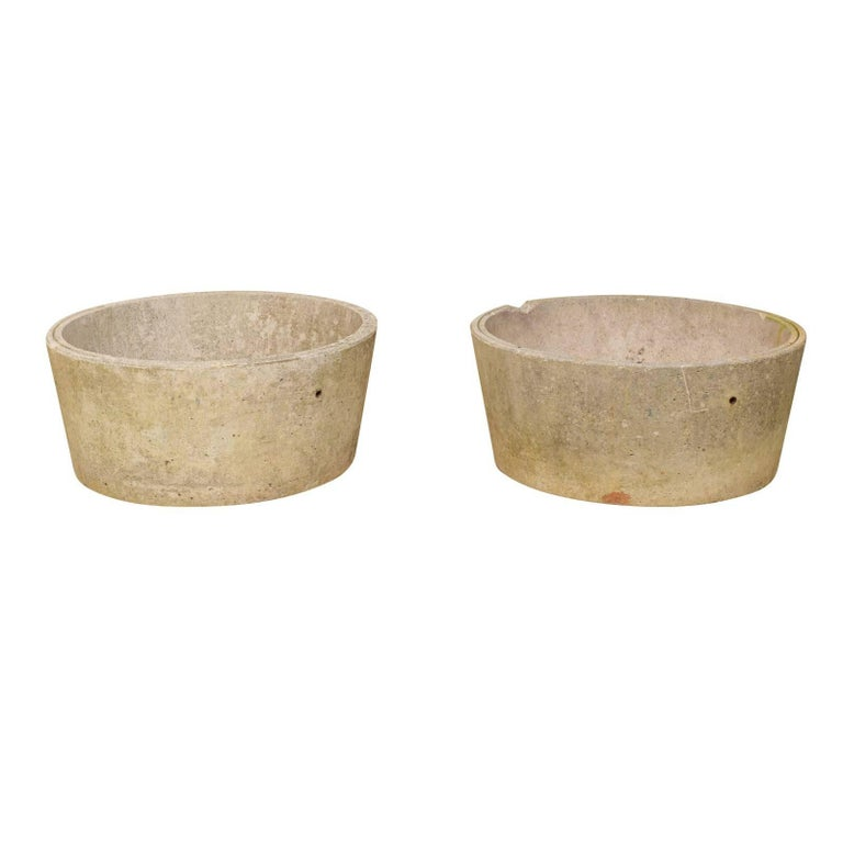 Pair of French Midcentury Cast Concrete Planter Pots with Round Shape