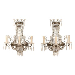 Pair of Elegant Swedish Three-Light Crystal and Cut Class Wall Sconces