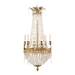 Exquisite Italian Midcentury Basket-Shaped Crystal and Brass Chandelier
