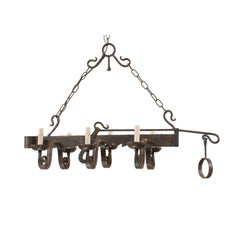 French Midcentury Six-Light Forged-Iron Spit-Jack Chandelier