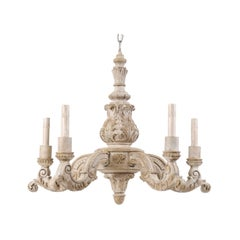 French Mid-20th Century Richly Carved and Painted Wood Chandelier in Soft Cream