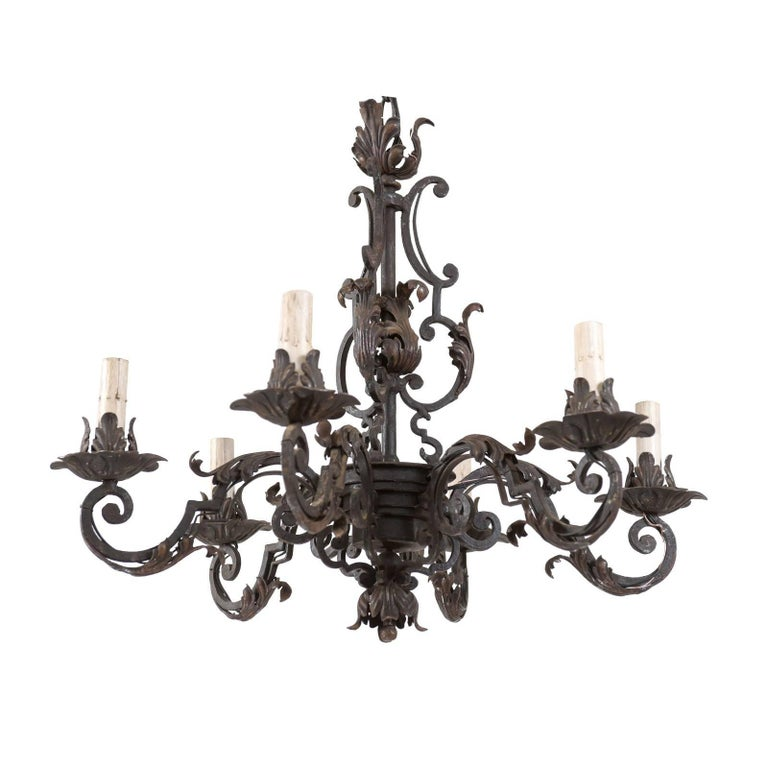 A large acanthus leaf iron chandelier from france at 1stdibs italian midcentury forged iron chandelier adorned with scrolls and acanthus leaf aloadofball Choice Image