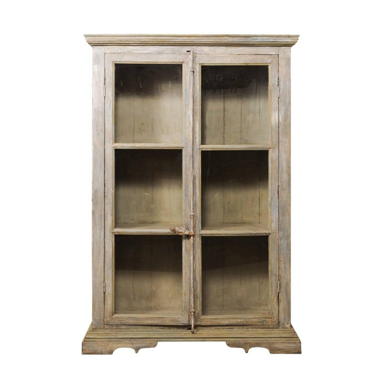 Tall Display Cabinet Made of 19th Century French Windows and Reclaimed Wood For Sale