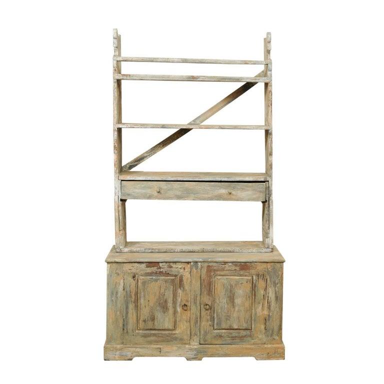 Swedish Midcentury Open-Top Painted Wood Cupboard