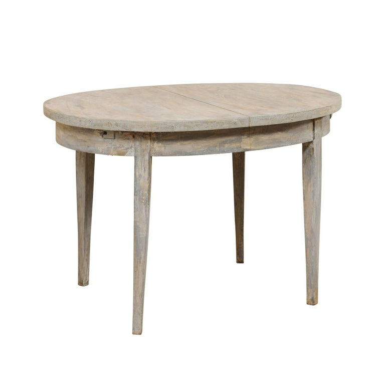 Swedish Midcentury Painted Wood Oval Occasional Table in Soft Blue-Grey