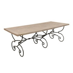 Lovely French Vintage Table with Inlay Wood Top and Large Scrolling Iron Base
