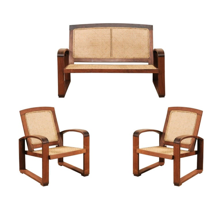 Vintage British Colonial Cane & Wood 3-Piece Seating Set with Chairs & Loveseat