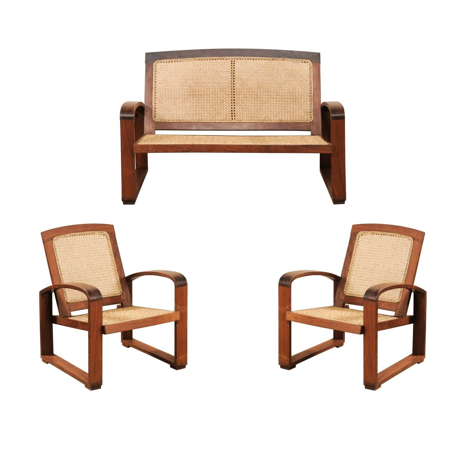 Vintage British Colonial Cane U0026 Wood 3 Piece Seating Set With Chairs U0026  Loveseat