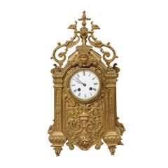 Late 19th Century French Beautifully Ornate Brass Freestanding Mantel Clock
