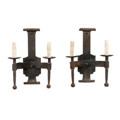 Pair of French Two-Light Mid-20th Century Hand-Forged Iron Sconces