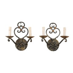 Pair of French Midcentury Two-Light Scrolled Iron Sconces