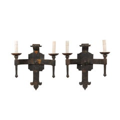 Pair of French Hand-Forged Iron Two-Light Torch Style Sconces