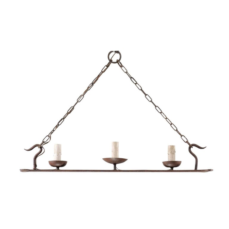 French Mid-20th Century Forged Iron Chandelier with Long Shape