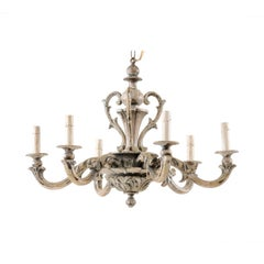 French Mid-20th Century Ornately Carved and Painted Wood Chandelier