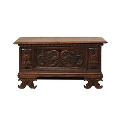 18th Century Italian Intricately Carved Sea Creature Casson Wood Trunk