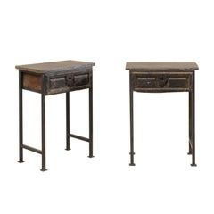 Pair of Spanish 18th Century Single Drawer Wood Side Tables on Iron Legs