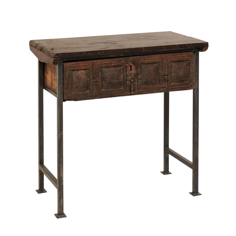 18th Century Spanish Single Drawer Chest of Rustic Carved Walnut Wood and Iron For Sale