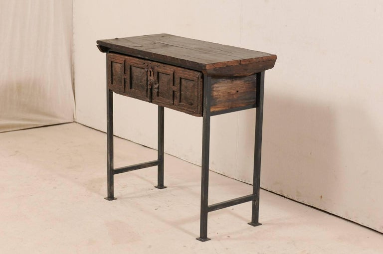 18th Century and Earlier 18th Century Spanish Single Drawer Chest of Rustic Carved Walnut Wood and Iron For Sale
