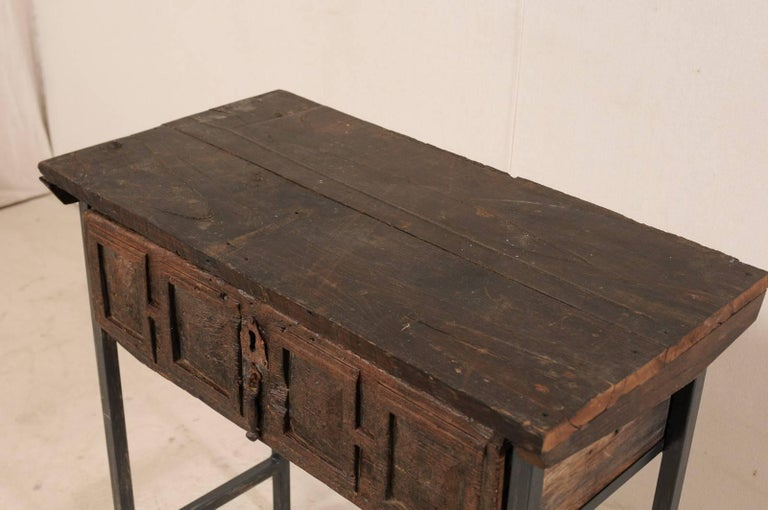 18th Century Spanish Single Drawer Chest of Rustic Carved Walnut Wood and Iron For Sale 1