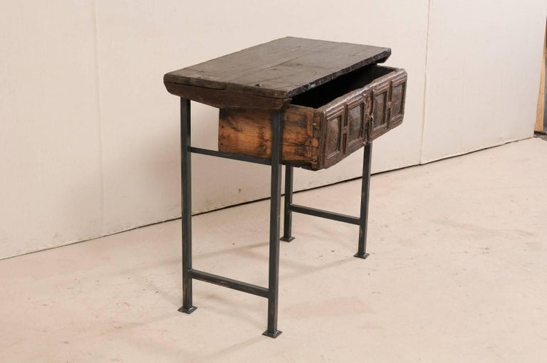 18th Century Spanish Single Drawer Chest of Rustic Carved Walnut Wood and Iron For Sale 2