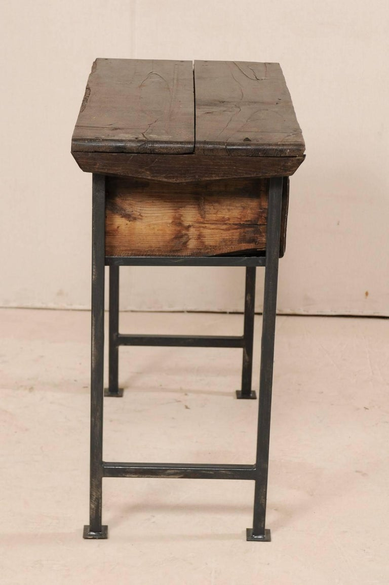 18th Century Spanish Single Drawer Chest of Rustic Carved Walnut Wood and Iron For Sale 4