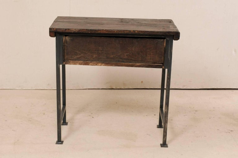 18th Century Spanish Single Drawer Chest of Rustic Carved Walnut Wood and Iron For Sale 5