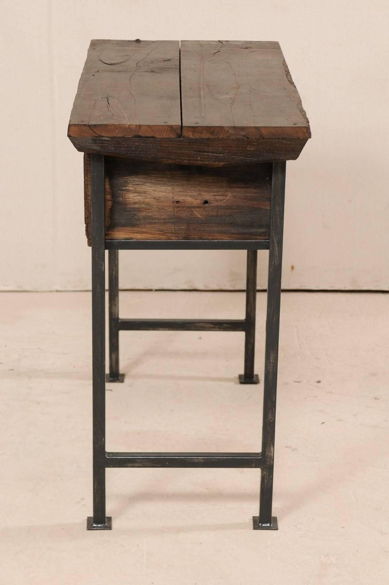 18th Century Spanish Single Drawer Chest of Rustic Carved Walnut Wood and Iron For Sale 6