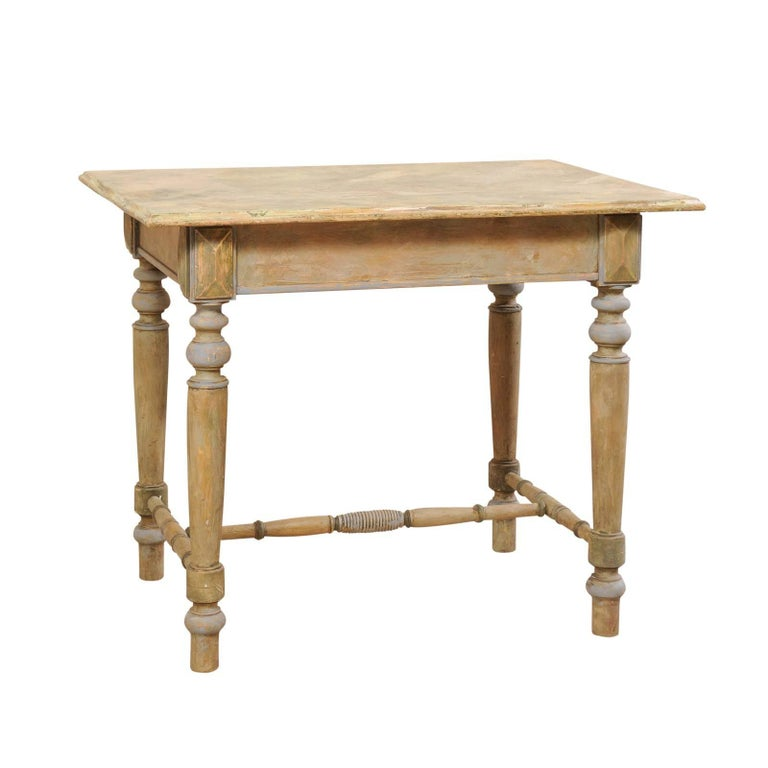French Painted Wood Side Table with Turned Legs and Stretcher, circa 1920