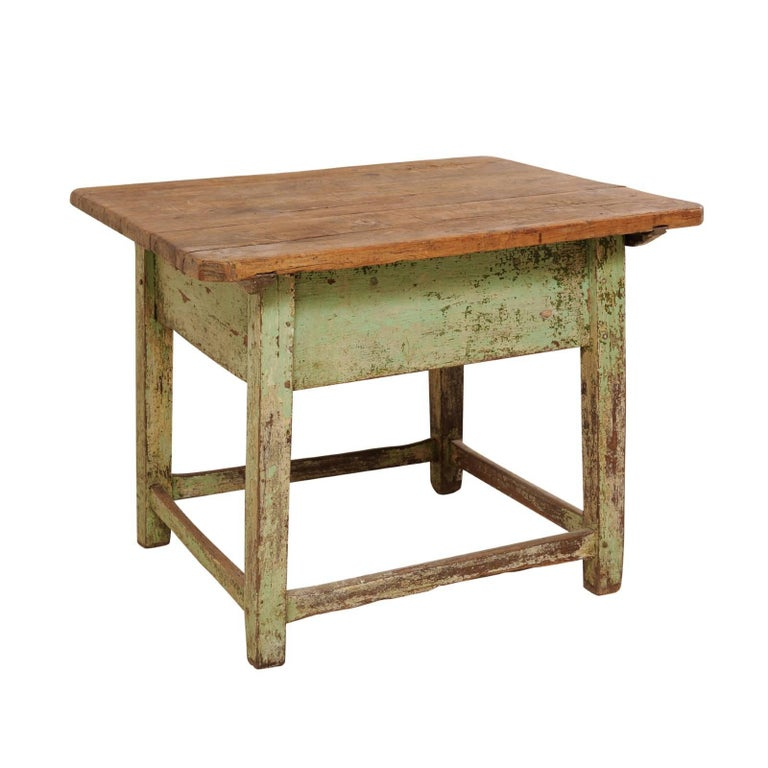 Cute 19th Century European Side Table with Sliding Top and Original Paint