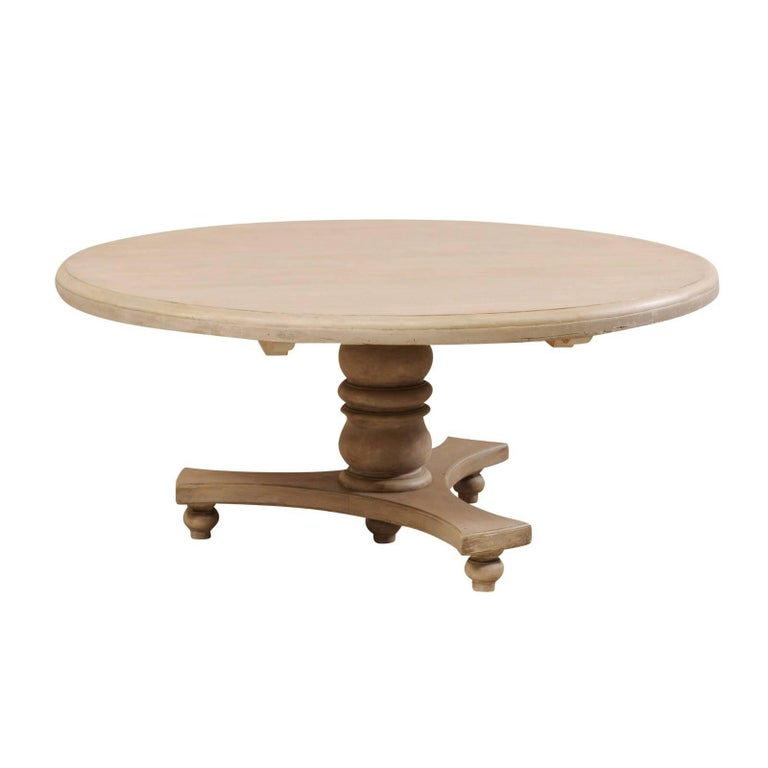 Lovely Round-Shaped Painted Wood Dining Table on Turned Pedestal