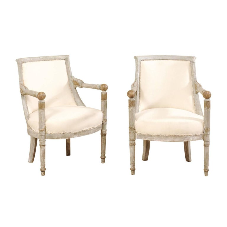 Pair of Lovely French 19th Century Painted Wood Directoire Style Armchairs