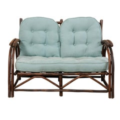 "Sweet Wood Loveseat with Plush Cushion by Furniture Makers ""Old Hickory"""