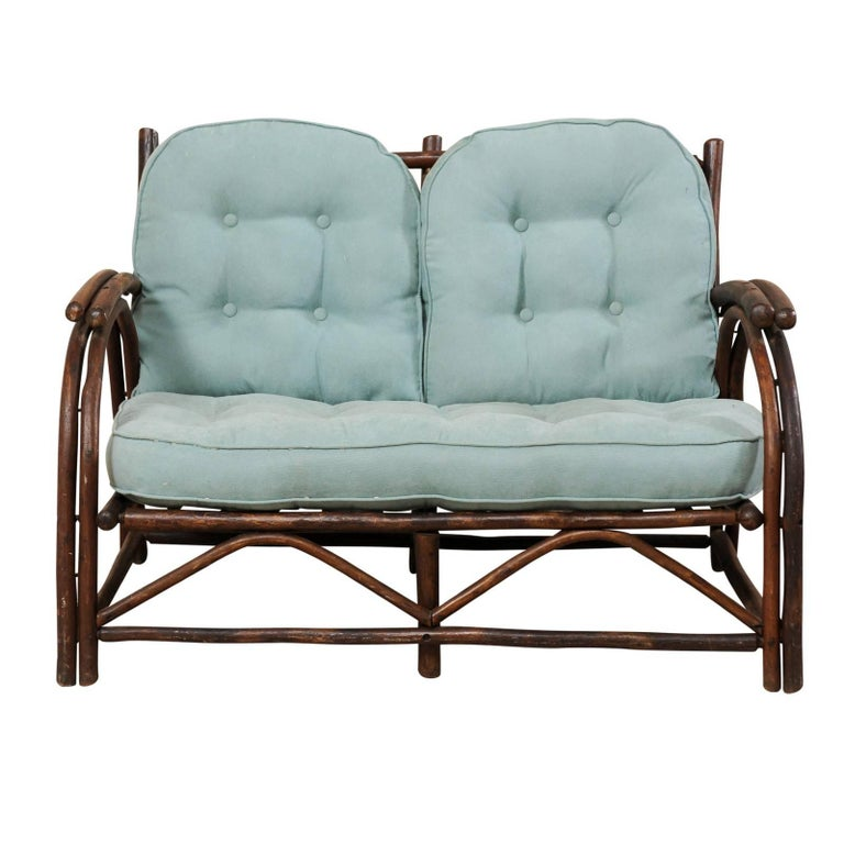"""Sweet Wood Loveseat with Plush Cushion by Furniture Makers """"Old Hickory"""""""