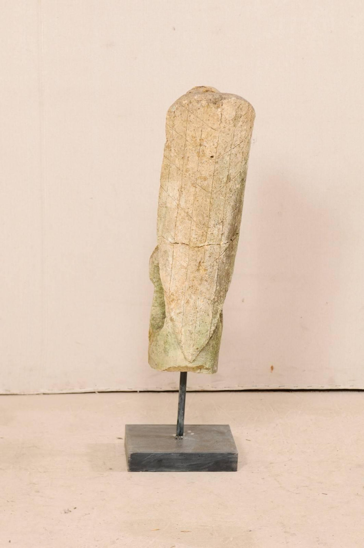 Hand-Carved Stone Abstract Bird Sculpture in on Metal Stand at 1stdibs