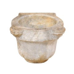 Turkish Hammam Hand-Carved Marble Wash Basin from the 19th Century