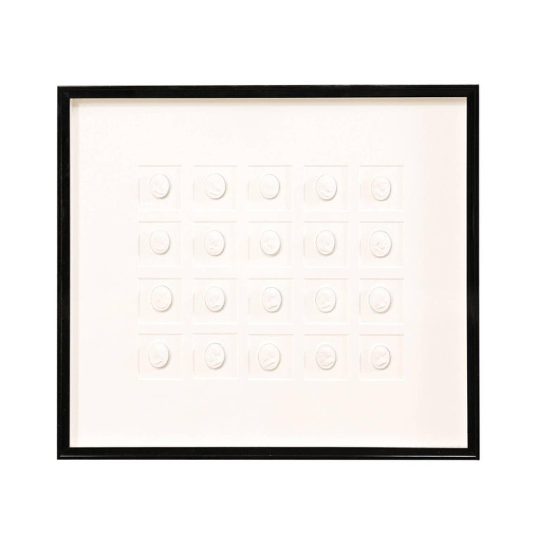 Elegant Black Wall Frame Featuring a Collection of White Intaglios