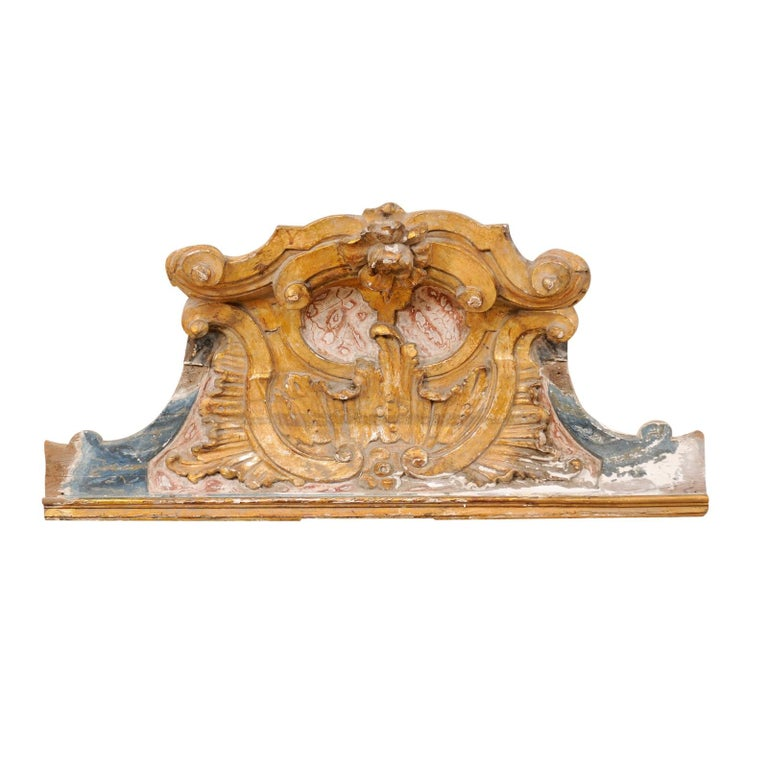 Baroque Style 19th Century Italian Carved, Painted and Gilded Pediment Fragment