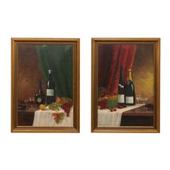 Pair of Elegant Swedish Still Life Paintings Featuring Wine, Fruit and Drapery