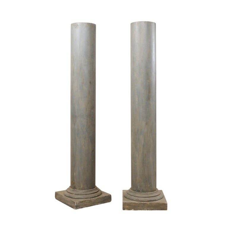 Pair of French Vintage Doric Style Painted Plaster Columns
