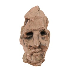 European Midcentury Cubist Style Head Sculpture of Cast Stone
