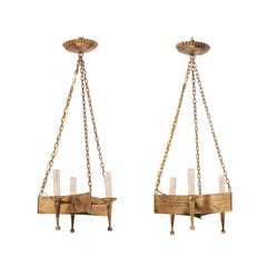 Pair of French Mid-20th Century Iron Chandeliers with Three Torch Style Arms