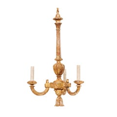 Italian Mid-20th Century Carved and Painted Wood Chandelier in Gold Bronze Color
