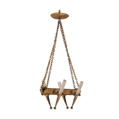 French Mid-20th Century Gold-Painted Iron Chandelier with Four Lights