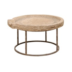 19th Century Mediterranean Stone Olive Press Custom Coffee Table