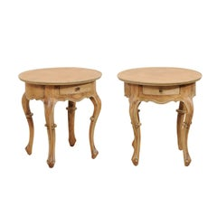Pair of Round Portuguese Style Vintage Side Tables of Carved Wood