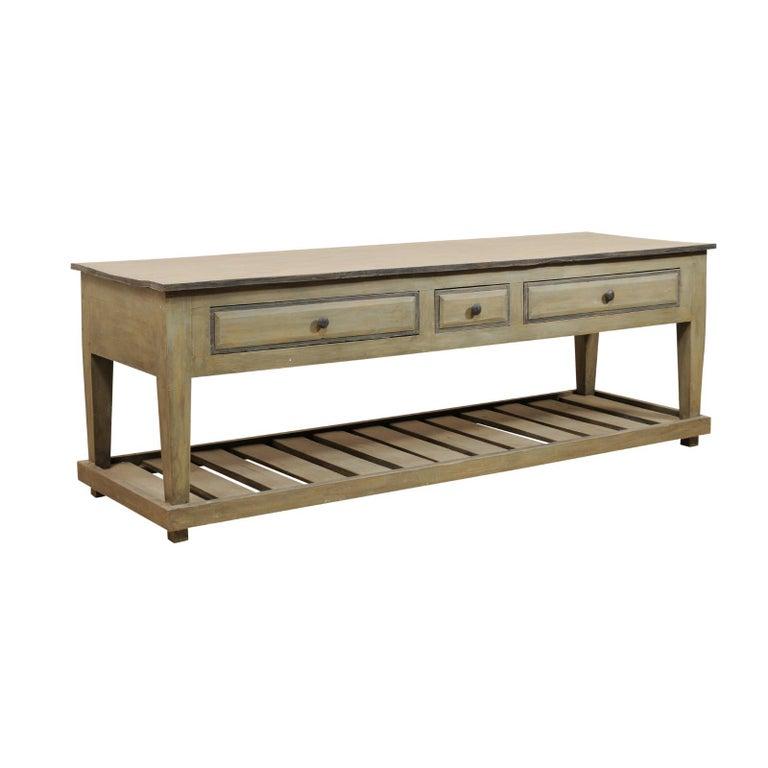 Impressive Custom Painted Wood Kitchen Island Table with Storage